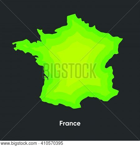 Geographical Map Of France. Vector Topographic Map Of France. France Paper Cut Out Layer Map. Layer