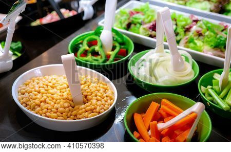 Salad Bar Buffet At Restaurant. Fresh Salad Bar Buffet For Lunch Or Dinner. Healthy Food. Beans And