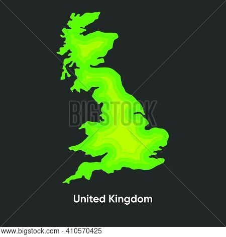 Geographical Map Of Great Britain. Vector Topographic Map Of Great Britain. Uk Paper Cut Out Layer M