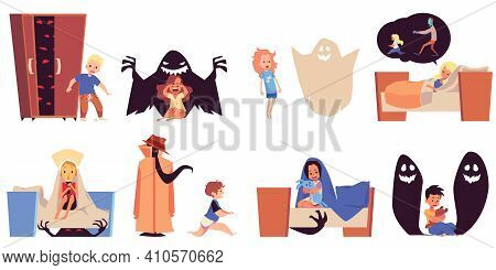 Fear And Bad Dream Set Of Children Afraid Of Monsters, Flat Vector Illustration.