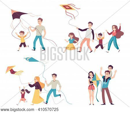 Set Of Happy Family Members Flying A Kite, Flat Vector Illustration Isolated.