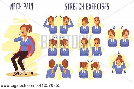 Girl Doing Exercise Neck Stretch To Get Rid Of The Pain Of Office Syndrome.