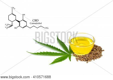 Bowl With Hemp Oil, Leaf And Seeds On White Background, Cbd Hemp Oil.  Cbd Chemical Formula, Cannabi