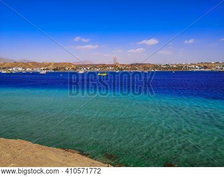 Panorama Of Sharm El-maya Bay In Sharm El Sheikh (egypt). Pleasure Boats In The Turquoise-azure Wate