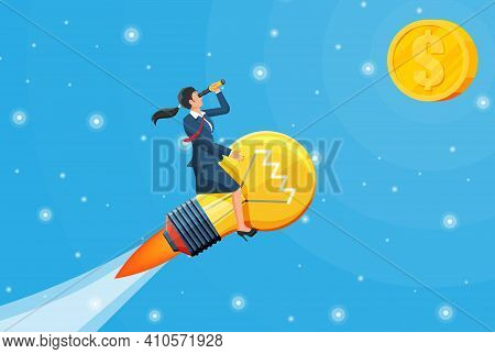 Businesswoman Flying On Big Idea Bulb Formed Rocket. Business Woman On Lamp Looking Through Spyglass