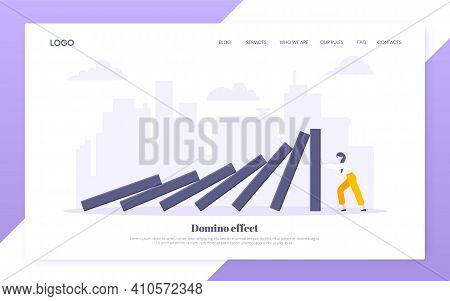 Domino Effect Business Resilience Metaphor Vector Illustration Concept. Adult Young Businesswoman Pu