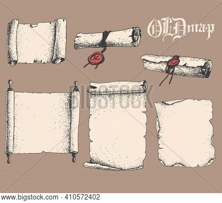Vector Hand Drawn Collection Of Antique Scrolls And Old Paper. Sketchy Style Illustration.
