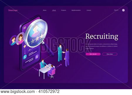 Recruiting Isometric Landing Page. Hiring Agency, Human Resource Online Service, Tiny People At Huge