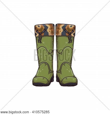 Green Rubber Boots, Wellington Or Wellie Style Rain Shoes From Front View