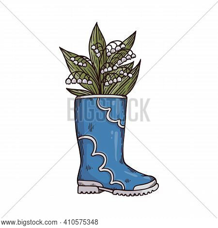 Fashion Rubber Wellies With Flowering Lilies Of The Valley A Vector Illustration