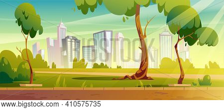 City Park, Summer Or Spring Time Scenery Landscape, Cityscape Background, Empty Public Place For Wal