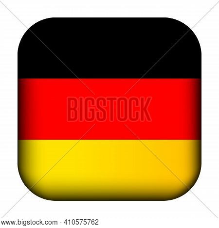 Glass Light Ball With Flag Of Germany. Squared Template Icon. German National Symbol. Glossy Realist