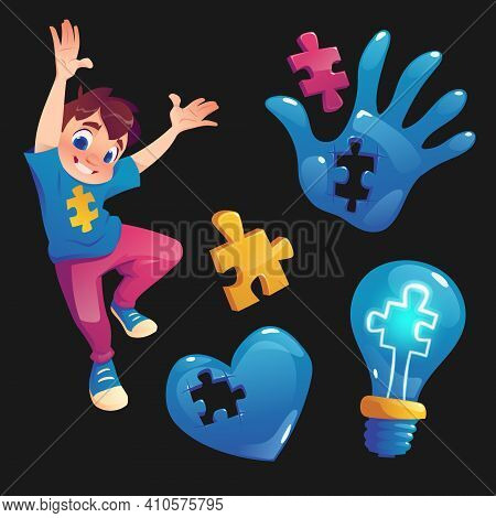 Boy And Symbols With Puzzle Pieces. Concept Of Autism, Mental Health Disease And Developmental Disor