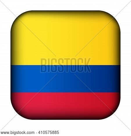Glass Light Ball With Flag Of Colombia. Squared Template Icon. Colombian National Symbol. Glossy Rea