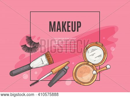 Makeup Banner With Cosmetics And Makeup Tools Sketch Vector Illustration.