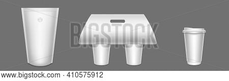 Package For Coffee, Paper Cups In Carton Holder, Mug With Closed Plastic Lid, Doypack With Holes For