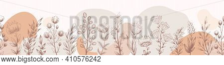 Vector Seamless Horizontal Pattern With Hand Drawn Floral Elements Flowers, Leaves Branches And Herb