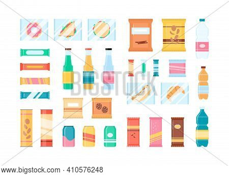 Snack Food And Soda Drink Set - Isolated Flat Beverages And Snacks