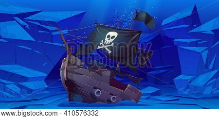 Sunken Pirate Ship With Black Sails And Flag With Skull And Crossbones On Sea Bottom. Vector Cartoon