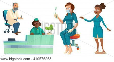Hospital Healthcare Staff Set, Doctors, Nurses And Receptionist Characters In Medical Robes Holding