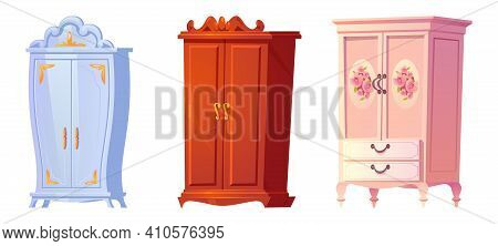 Cartoon Cupboards Baroque, Shabby Chic Or Classic Style. Luxury Interior Cabinets Vintage Stuff, Old