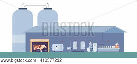 Milk Production On Factory, Technology Industry Manufacture Dairy Food