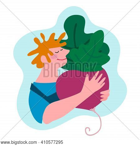 Funny Happy Farmer In Overalls Holding Giant Beetroot. Humorous Vector Illustration In Trendy Flat S