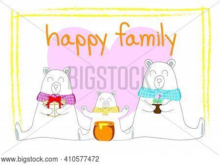 White Bear Family. Three White Bears Sitting On A White Background