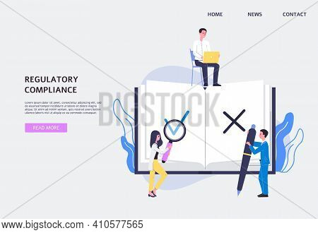 Webpage For Regulatory Compliance Law Services, Flat Vector Illustration.