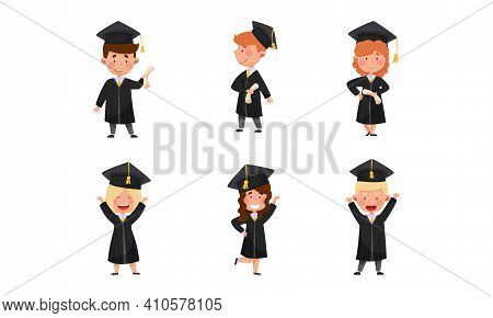 Girl And Boy Characters Wearing Academic Dresses Or Gown And Square Academic Cap Cheering About Grad