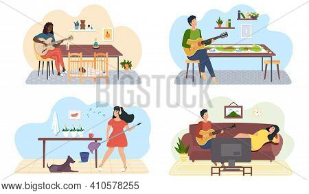 Set Of Illustrations About People With Musical Profession Play Guitar And Sing Songs. Rest And Pasti