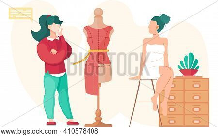 Woman Planning Model Of Future Garment. Professional Tailoring Studio. Sewing Clothes. Tailor Measur