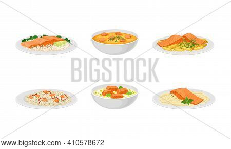 Salmon Dishes Served With Rice And Garnished With Pot Herbs Vector Set