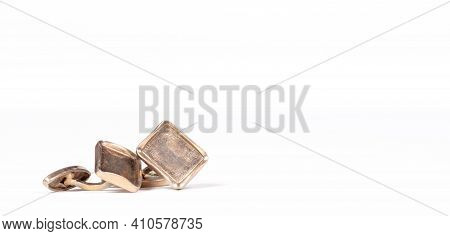Old Gilded Cufflinks, Isolated On White Background