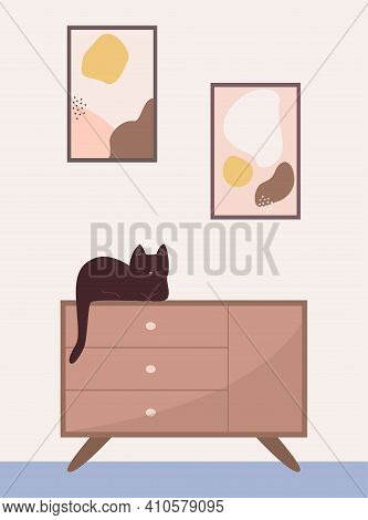 Cozy Living Room With A Chest Of Drawers. The Cat Sleeps On The Dresser. Vector Flat Illustration.