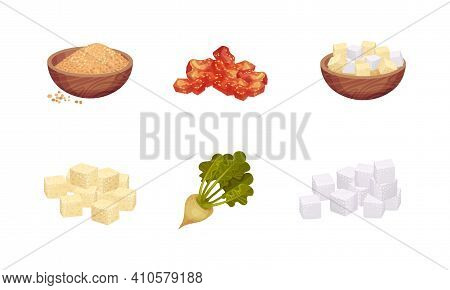 White Sugar In Cubes And Pile Of Brown Sugar In Bowl With Sugar Beet Vector Set