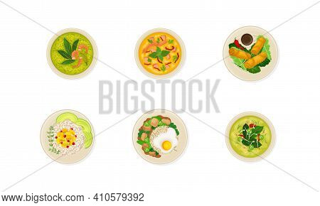 Thai Dishes And Main Courses With Seafood Soup And Rice Top View Vector Set