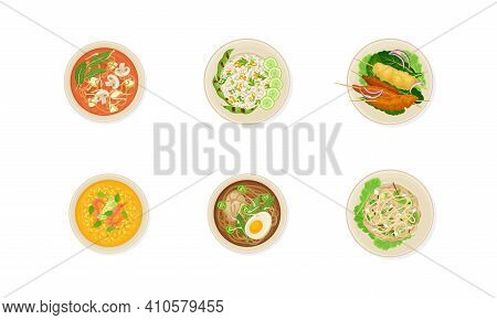 Thai Dishes And Main Courses With Noodle Soup, Pasta And Rice Top View Vector Set