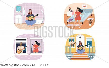 Set Of Illustrations About Guitarists Performing Songs And Playing Stringed Musical Instrument. Perf