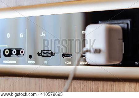 Closeup Image Of  Smart Wall Plug For Usb And Internet Port.