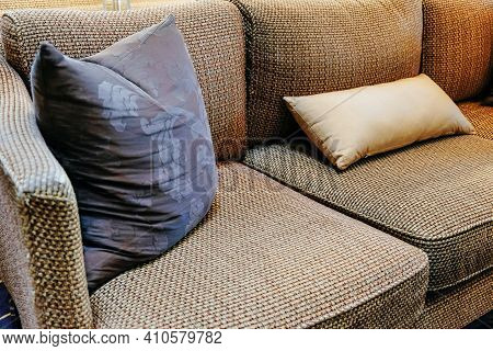 Detail Image Of Cushion On Sofa, Luxury Living Room