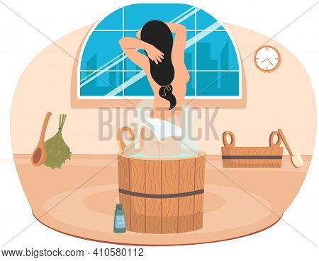 Lady Standing In Wooden Tub With Hot Water. Home Bathhose Interior Design. Cleansing Skin And Hair C