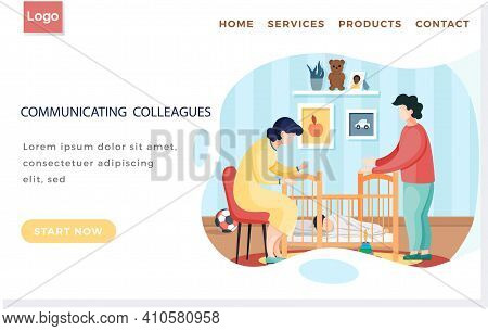 Communicating Colleagues Landing Page Template With Young Parents Put Baby To Sleep In Crib. Mother
