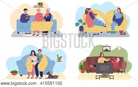 Set Of Illustrations About Treatment And Pastime At Home. People Take Medication And Care For Loved