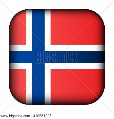Glass Light Ball With Flag Of Norway. Squared Template Icon. Norwegian National Symbol. Glossy Reali