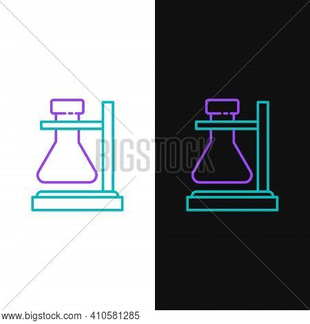 Line Glass Test Tube Flask On Stand Icon Isolated On White And Black Background. Laboratory Equipmen