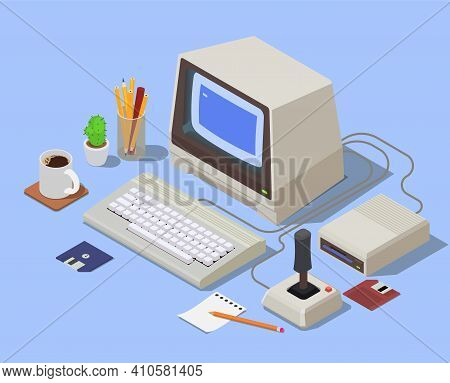 Retro Devices Isometric Background With Personal Computer Consisting From System Unit Monitor Keyboa