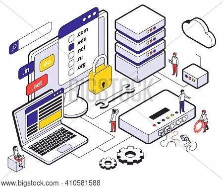 Web Hosting Isometric Colored Concept Choice Of Hosting Cloud Storage For Websites Vector Illustrati