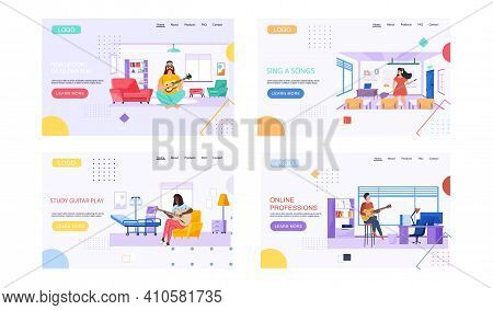 Set Of Illustrations On Topic Of Online Professions And Learning Music. Web Site With People Playing
