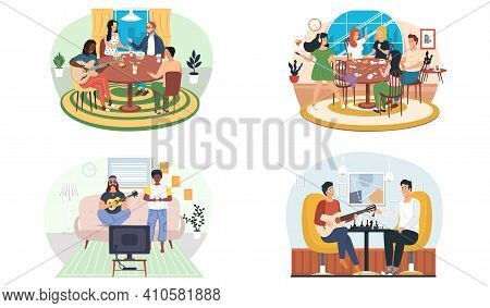 Set Of Illustrations About Guitarists Entertain People At Home. Characters Communicate And Play. Fri